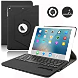Keyboard Case for iPad Mini,Dingrich 360 Degree Rotating Folio PU Leather Case with Removable Bluetooth Keyboard for Apple iPad Mini 1 / Mini 2 / Mini 3 in 7.9 inch iPad,NOT for iPad Mini 4 - Black