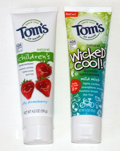 Tom's of Maine Childrens and Kids Combo Pack Toothpaste - Silly Strawberry and Wicked Cool 4.2 oz
