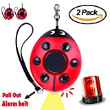 2 Pack Emergency Personal Alarm 130DB Security Key Chain with Led Flashlight Ladybug-Shaped Safe Protection for Boys Girls Women Kids Elderly by iCooLive
