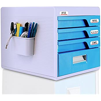 Delightful Locking Drawer Cabinet Desk Organizer   Home Office Desktop File Storage Box  W/ 4 Lock Drawers, Great For Filing U0026 Organizing Paper Documents, Tools, ...