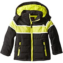 YMI Boys' Bubble Jacket with Contrasting Horizontal Racing Stripe and Detachable Hood