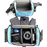 Camera Bag Case, Camera Message Sholder Bag, Shockproof and Waterproof DSLR Camera Bag for Canon, Nikon and Lecia DSLR Camera (Blue)
