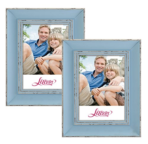 Lilian Vintage Light Blue Display 5x7 Desk/Wall Photo Frame - Wall Mounting Material Included(2-Pack)