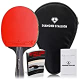 Diamond Stallion High Tech Ping Pong Paddle - Premium All Round Table Tennis Racket - Pro Level Ergonomic Table Bat To Enhance Your Table Tennis Skills - BONUS: Racket Case + Zipper Wristband + E-BOOK