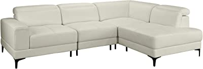 Large Modern Leather Sectional Sofa, Living Room L-Shape Couch (Beige)