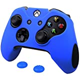 Pandaren Soft Silicone Thicker Skin Cover for Xbox One Controller Set (Blue skin X 1 + Thumb Grip X 2)