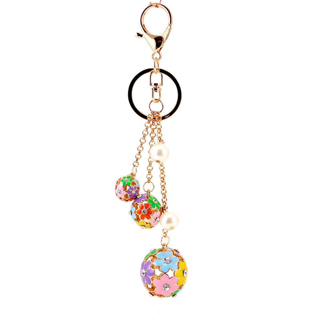 Kissweet Daisy Rhinestone Round Flower Ball Keychain with Clip for Car Key Ring Bag Pendant Charms(Colorful) by Kissweet