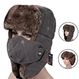 CyberDyer Russian Style Winter Trooper Hat Warm Hunting Hat Ear Flap Chin Strap With Windproof Face Mask (Grey)