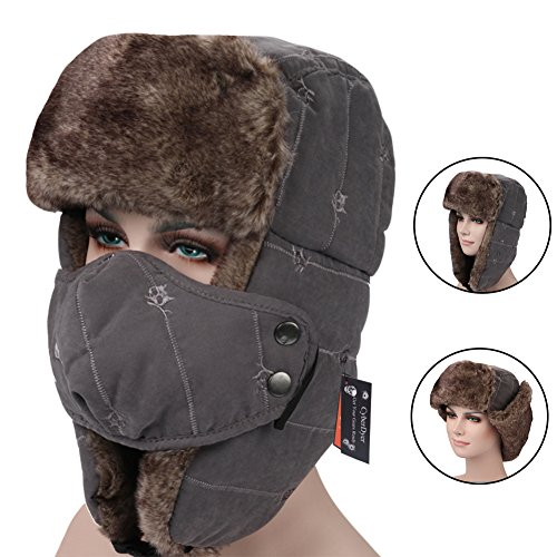 CyberDyer Russian Style Winter Trooper Hat Warm Hunting Hat Ear Flap Chin Strap With Windproof Face Mask (Grey) by CyberDyer