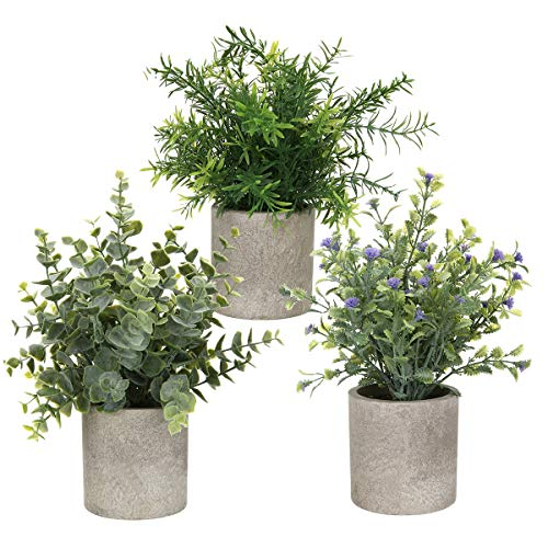 AXABING 3PCS Artificial Plant, Potted Plants Indoor Mini Potted Artificial Plants Indoor Green Plants for Decoration…
