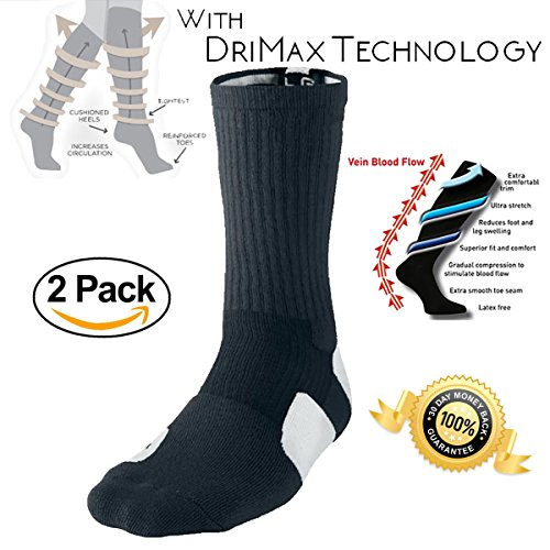 - 2 PACK - SportFlex Dry Padded Reinforced Compression Support Socks For Basketball, Football, Soccer, Running, Etc.. - Edge Soccer Socks
