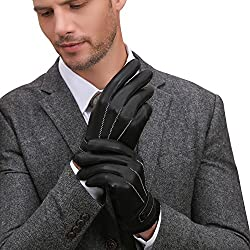 GSG Mens Winter Warm Gloves Luxury Touchscreen Spain Nappa Genuine Leather Driving Gloves Texting Motorcycle Wool Gloves Black 11
