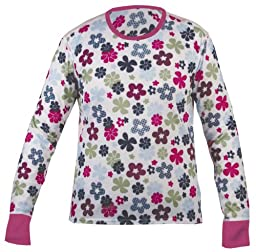 Hot Chillys Youth Midweight Print Crewneck Top, Flower Powder, X-Small