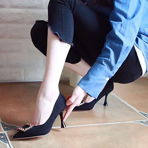 ZHUDJ High Heels Und Wasser Bohren Frauen Schuhe Im Frühjahr black
