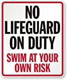 No Lifeguard On Duty, Swim At Your Own Risk Sign, 36'' x 30''