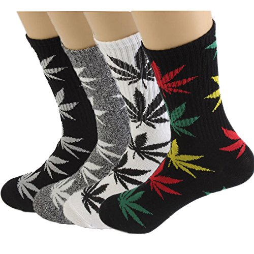 4pair-pack Marijuana Weed Leaf Printed Cotton High Socks, Mix Colors, fit for shoe size 7-11 (B match)