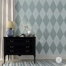 Harlequin Pattern Wall Stencils for Painting Large Diamond Shapes like Modern Wallpaper