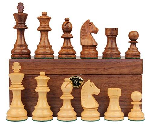 Set Knight German Chess (German Knight Staunton Chess Set in Golden Rosewood & Boxwood with Walnut Box - 2.75