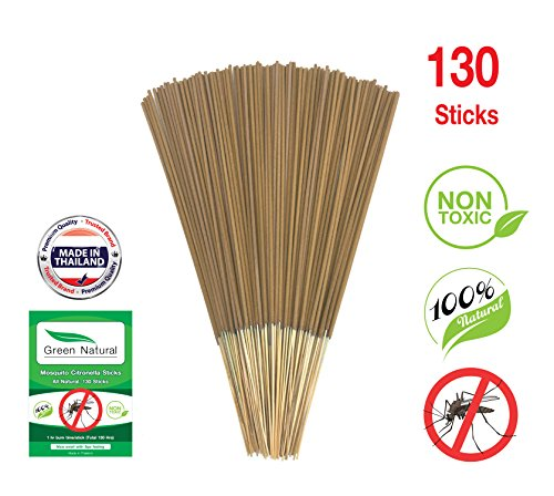 Green Natural Mosquito Sticks Citronella Lemongrass (130 STICKS) - Non Toxic - All Natural - No Deet - (Mosquito Sticks, Brown)