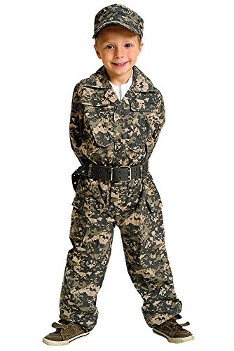Aeromax Jr. Camouflage Suit with Cap and Belt, Size 6/8 - Kids Military Army Uniforms