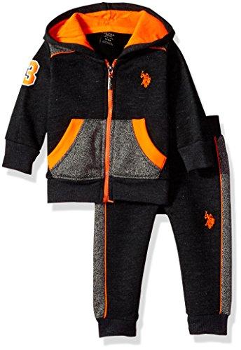 U.S. Polo Assn. Baby Boys' 2 Piece Fleece Jog Set, 0719-Orange, (2 Piece Cotton Sweater)