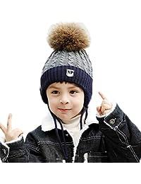 Monimona Boy Earflap Hat Winter Kids Knitted Hat Thicken Velvet Lining Cap
