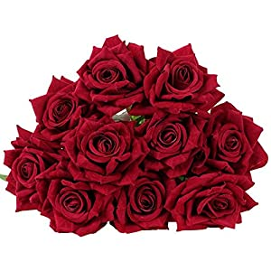 YSBER 10 Pcs Real Touch Silk Artificial Rose Flowers Silk Gluing PU Fake Flower Home Decorations for Wedding Party or Birthday Garden Bridal Bouquet Flower Saint Party Event(Dark red) 17