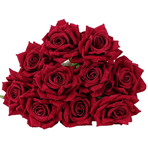 10 Pcs Real Touch Silk Artificial Rose Flowers Silk Gluing PU Fake Flower Home Decorations for Wedding Party or Birthday Garden Bridal Bouquet Flower Saint Valentine's Day Gifts Party Event(Dark red)