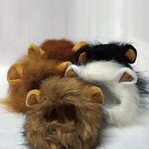Lion's Mane Costume Wig (Chunlin Pet Costumes Lion Mane Wig Cat Costume and Small Dog Costume with Complimentary Feathered Catnip Toy (Light Brown))