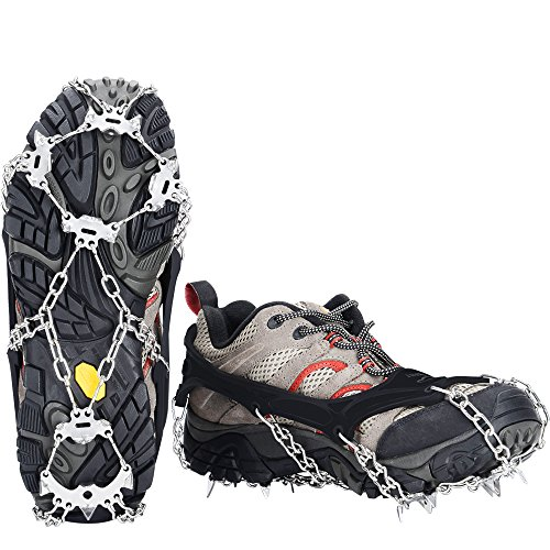 Uelfbaby 19 Spikes Crampon Micro Spikes ice Snow Grips Traction Cleats System Safe Protect Walking, Jogging Hiking on Snow Ice (XL)