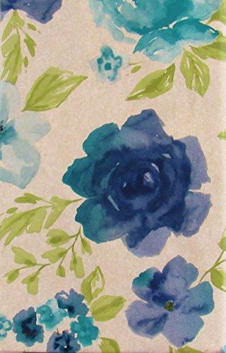 Blue Floral Watercolor Vinyl Flannel Back Tablecloth (52