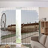 Blackout Curtains for Kids Room Noise Reducing Thermal Insulated Window Curtain,Historical Building Thames River Ferris Wheel Pencil 108Wx90L Inch