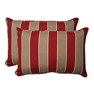 Pillow Perfect Outdoor/Indoor Wickenburg Over-Sized Rectangular Throw Pillow (Set of 2), Cherry - Includes two (2) outdoor pillows, resists weather and fading in sunlight; Suitable for indoor and outdoor use Plush Fill - 100-percent polyester fiber filling Edges of outdoor pillows are trimmed with matching fabric and cord to sit perfectly on your outdoor patio furniture - patio, outdoor-throw-pillows, outdoor-decor - 51aLJzv6LKL. SS400  -