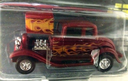 Racing Champions ~ HOT ROD MAGAZINE ~ Issue #17 / RED w orange flames '32 FORD COUPE / 1:54 Scale Die Cast Car / 1997 by Racing Champions