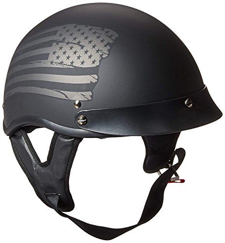 TORC Unisex-Adult Size Style T53 Black Hills Motorcycle Half Helmet with Graphic Flag (Flat, X-Large)
