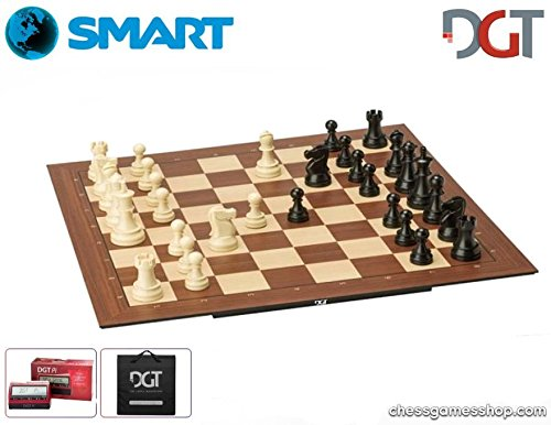 (DGT Smart Board WI + Plastic Weighted Chess Pieces PI Chess Computer + Carrying Bag - Elctronic Chess Set)