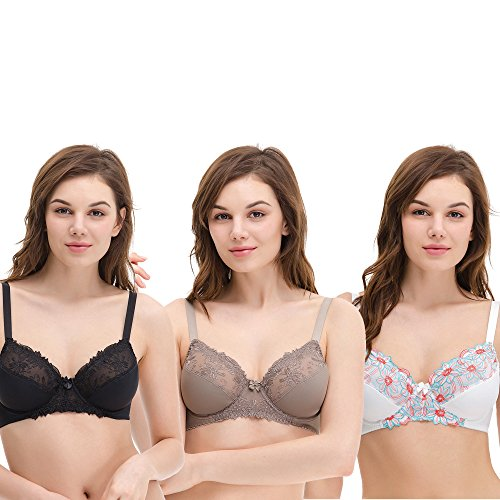 Curve Muse Women's Plus Size Unlined Underwire Minimizer Lace Embroidery Bra-3PK-BLACK,Gray,CREAM-46DDDD