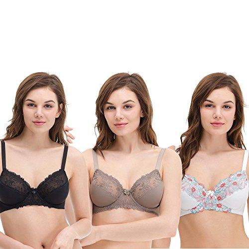 Curve Muse Women's Plus Size Unlined Underwire Minimizer Lace Embroidery Bra-3PK-BLACK,Gray,CREAM-44DDDD