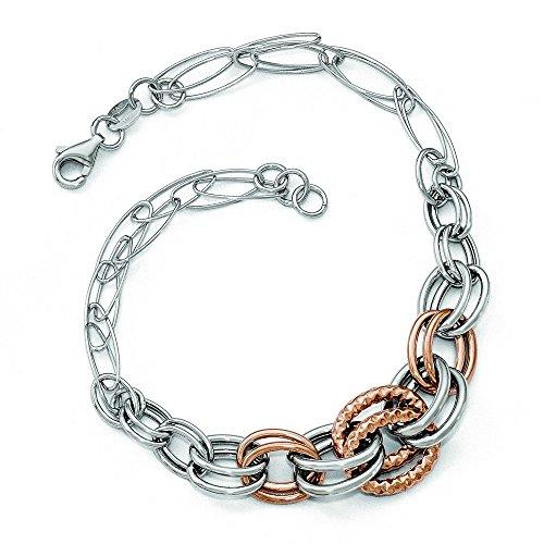 Or bicolore 14carats poli et texturé Bracelet Lien Fancy-20cm