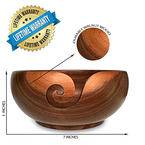 Yarn Bowl Walnut and Knitting Bag Bundle - 7''X3'', Wooden, Handmade from Special European Walnut Wood - Storage Organizer, holder for Knitting and Crochet by Yarn Story- Perfect Gift! by YARN STORY (Image #2)