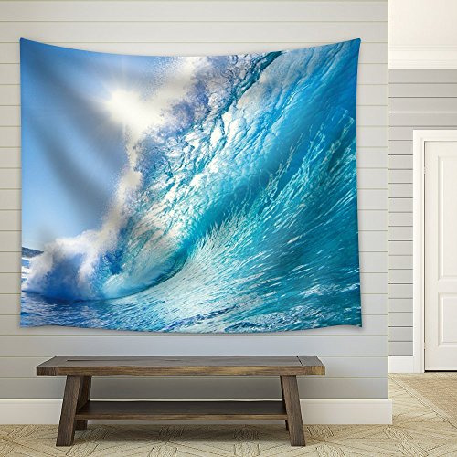 Sun Over a Big Ocean Splashing Wave