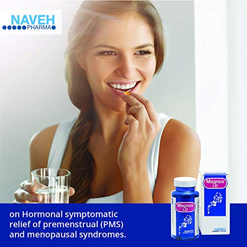 Magnox Lady Magnesium Supplement Capsules (60), Reduces PMS and Menopausal Symptoms, by Naveh Pharma