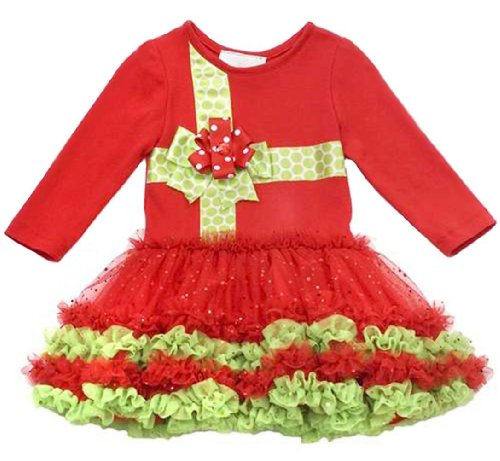 Rare Editions Ribbon Present TuTu Christmas Dress