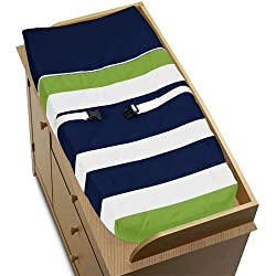 Sweet Jojo Designs Navy Blue and Lime Green Stripe Baby Changing Pad Cover