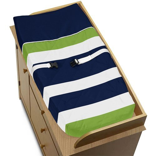Sweet Jojo Designs Green - Sweet Jojo Designs Navy Blue and Lime Green Stripe Baby Changing Pad Cover