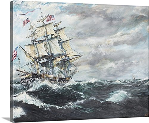 Uss Constitution Warship (Vincent Alexander Booth Premium Thick-Wrap Canvas Wall Art Print entitled USS Constitution heads for HM Frigate Guerriere, 19/08/1812, 2003 30