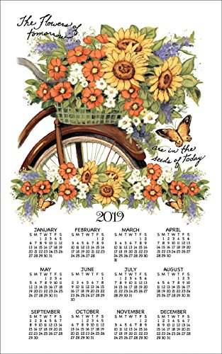 2020 Bicycle Floral Susan Winget Linen Towel Calendar (F3343)