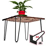 16 inch Hairpin Legs – 4 Easy to Install Metal Legs for Furniture – Mid-Century Modern Legs for Coffee and End Tables, Chairs, Home DIY Projects + Bonus Rubber Floor Protectors by INTERESTHING Home