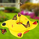 Garden Butterfly Feeder Station Brightly Coloured Yellow Insect Feeding Platform Attract Nectar Blooming Flowers