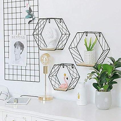 Estantes de Pared Decorativa , Estanterías Murales de Hierro forjado Hexagonal Diseño , Figura Geométrica - Ideal para poner en el salón, comedor, dormitorio, estudio, Negro, Small